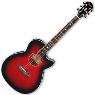 Ibanez AEG8E Acoustic Guitar, Trans Red
