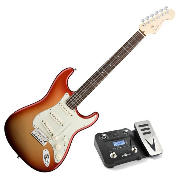 Fender American Deluxe Stratocaster, RW, Sunset Metallic, Pedal Pack