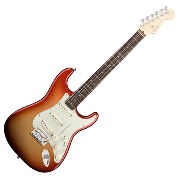 Fender American Deluxe Stratocaster, RW, Sunset Metallic, Pedal Pack - guitar