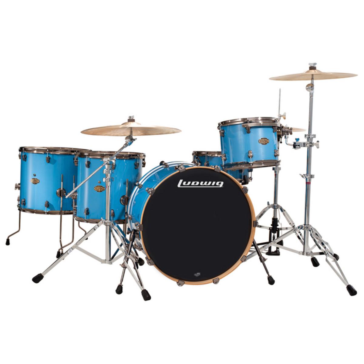 disc ludwig epic funk acoustic drum kit celestial blue at. Black Bedroom Furniture Sets. Home Design Ideas