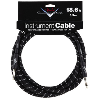 Fender Custom Shop 5.5m Instrument Cable, Black Tweed