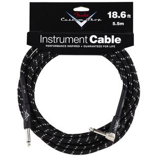 Fender Custom Shop 5.5m Angled Instrument Cable, Black Tweed
