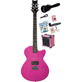 Daisy Rock Debutante Rock Candy Electric Guitar Pack, Atomic Pink