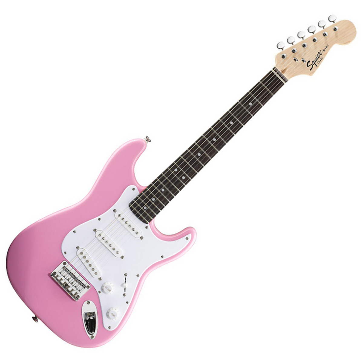 squier by fender mini stratocaster 3 4 size electric guitar pink at. Black Bedroom Furniture Sets. Home Design Ideas