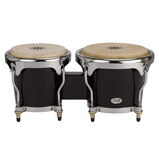 Natal Fuego Natural Wood Bongos, Chrome Hardware, Black Gloss