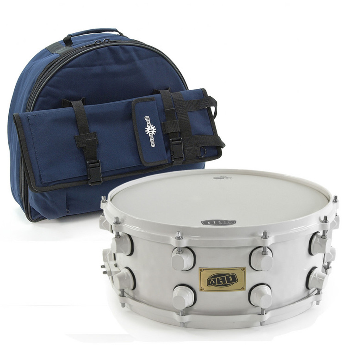 "Image of WHD 14 x 6.5"" Steel Snare & Gig Bag White"""