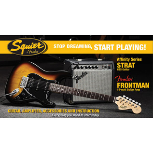 Fender Squier Stratocaster Pack HSS with 15w Amp, Sunburst