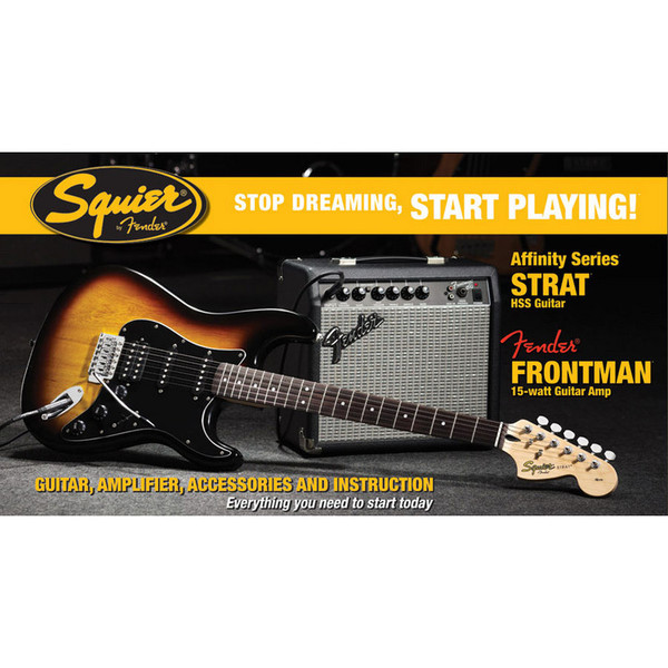 Fender Squier Stratocaster Pack HSS with 15w Amp, Sunburst