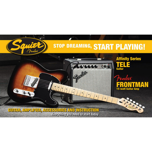 Fender Telecaster Stratocaster Pack with 15w Amp, Sunburst
