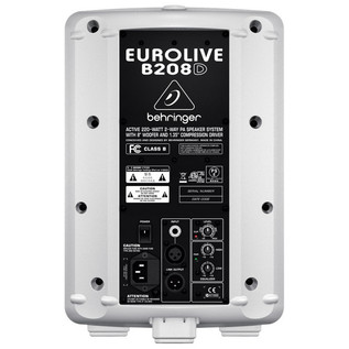 Behringer B208D-WH Eurolive Active PA Speaker, White (Rear)