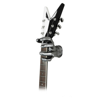 Grip Studios GS-1 Custom Guitar Hanger, Metal Mayhem, Left Hand with Guitar