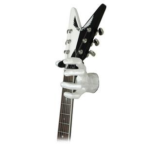 Grip Studios GS-1 Custom Guitar Hanger, Pearl White, Left Hand with Guitar