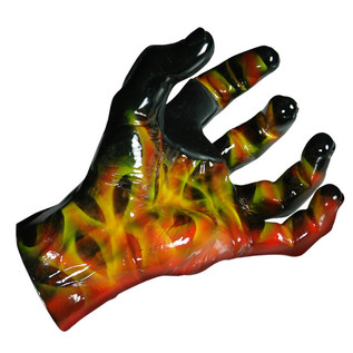 Grip Studios Air Brushed Custom Guitar Hanger, Scoppio, Left Hand Palm Detail
