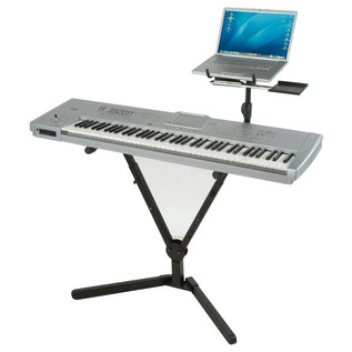 Quiklok QLY40 Y-Shaped Single-Tier Foldable Keyboard Stand, Black (with Keyboard)