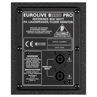 Behringer B1220 Eurolive Pro Passive PA Speaker rear panel