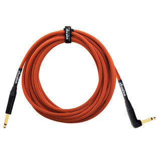 Orange 20 ft Instrument Right Angle Cable, Woven