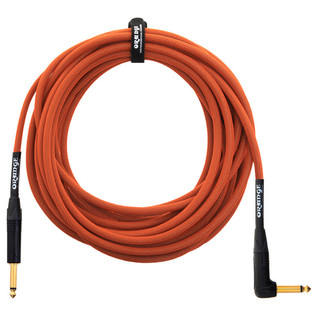 Orange 30 ft Instrument Right Angle Cable, Woven