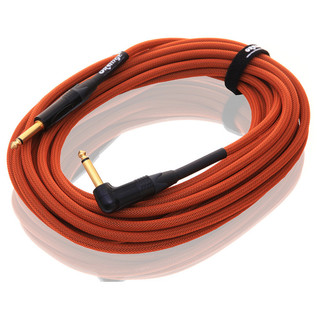 Orange 30 ft Instrument Right Angle Cable, Woven (2)
