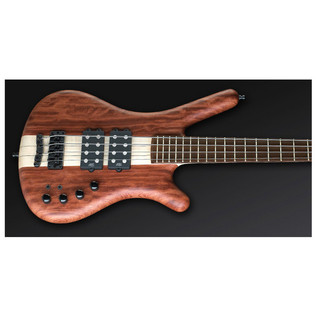 Warwick Corvette $$ 4-String Bass, Bubinga, Natural OF,Black Hardware (Close Up)