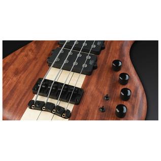 Warwick Corvette $$ 4-String Bass, Bubinga, Natural OF,Black Hardware (Close Up 3)