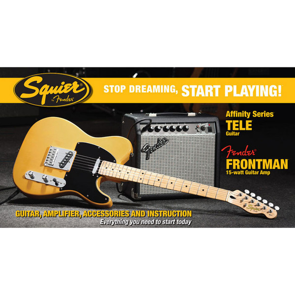Fender Telecaster Stratocaster Pack with 15w Amp, Blonde