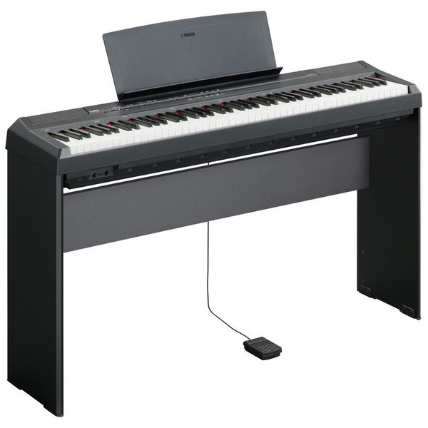 Yamaha P-105 Digital Piano, Black with Matching Pedal Board and Bench