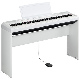 Yamaha P-105 Digital Piano, White with Matching Pedal Board and Bench