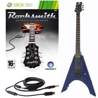 Ubisoft Rocksmith + Metal-V Electric Guitar, Blue Xbox Package