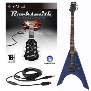 Ubisoft Rocksmith + Metal-V Electric Guitar, Blue PS3 Package