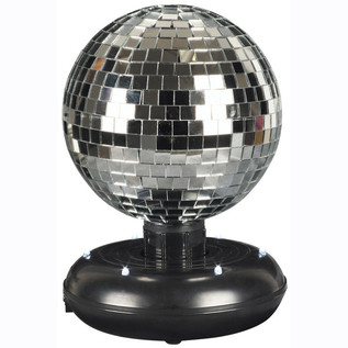 Cheetah Silver Free Standing Rotating Mirror Ball with Built-In LEDs