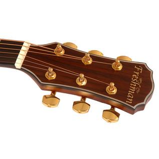 Freshman FA1FNS Folk Acoustic Guitar, Natural with Hardcase Headstock