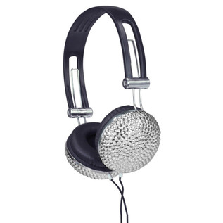 NJS Crystal Effect Stereo Headphones, Silver