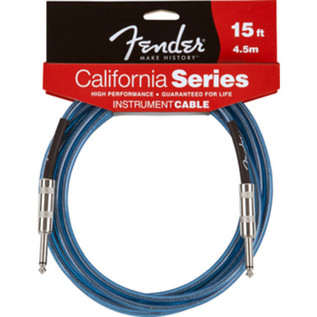 Fender California Instrument Cable, Lake Placid Blue, 4.5m