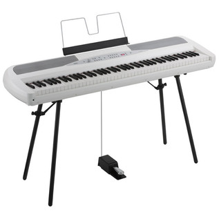 Korg SP-280 Digital Stage Piano, White with Music Stand