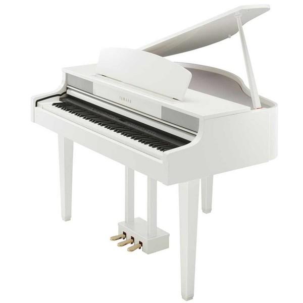 Yamaha clp465 grand piano polished white with matching for Yamaha white piano bench
