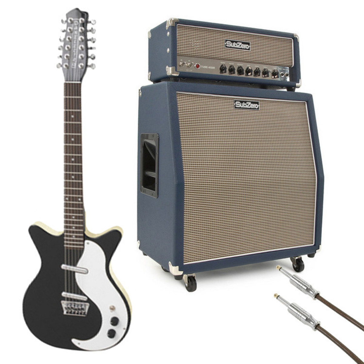 Image of Danelectro DC59 12-String Guitar Black w/ SubZero Tube-H50R Stack