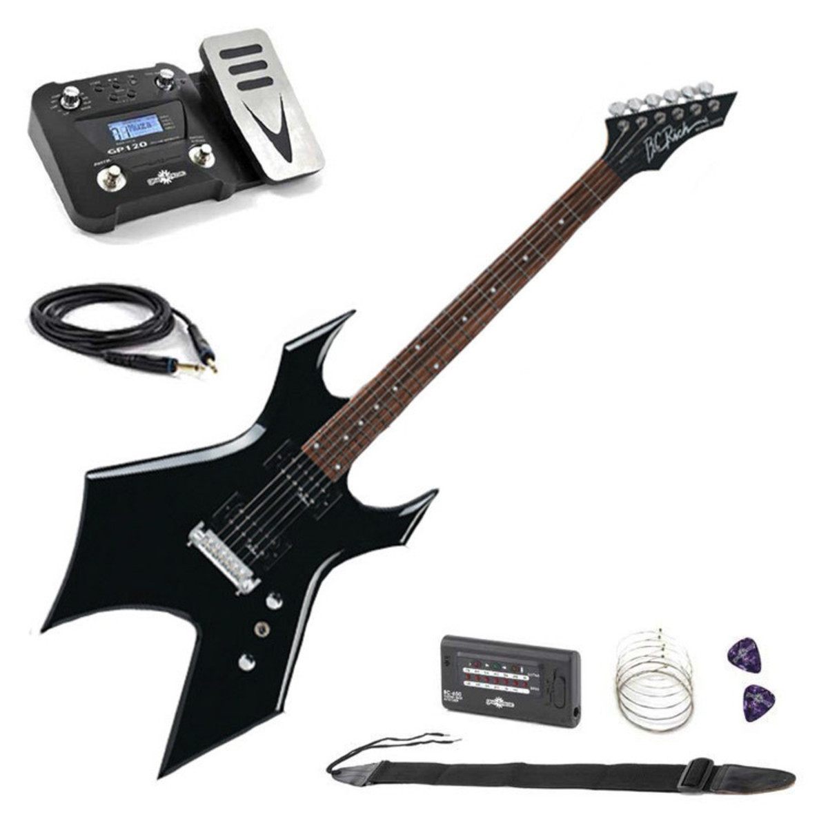 bc rich warlock one guitar onyx black with multi fx pedal pack at. Black Bedroom Furniture Sets. Home Design Ideas