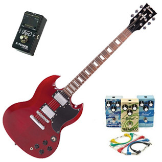 Encore Electric Guitar, Cherry Red with Belcat 4 Pedal Blues Pack