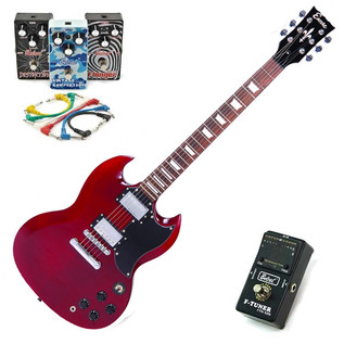 Encore Electric Guitar, Cherry Red with Belcat 4 Pedal Rock Pack