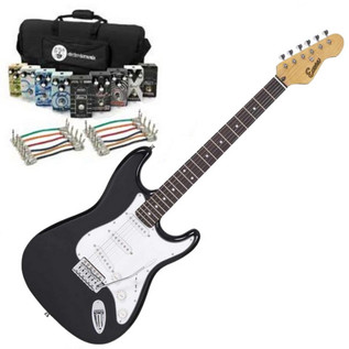 Encore Electric Guitar, Black with Belcat Complete Pedal Pack