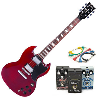 vEncore Electric Guitar, Cherry Red with Belcat 3 Essential Pedals