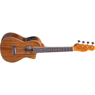 Fender Ukulele Mino'Aka Concert Electro-Acoustic Ukulele, Natural Top Angle