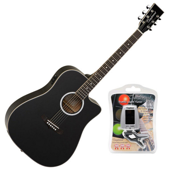 Tanglewood Evolution TW28-SLBK-CE Electro Acoustic Dreadnought Guitar, FREE Tuner