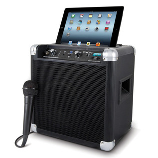 ION Tailgater Bluetooth Compact Speaker with Wireless Technology Angle with iPad