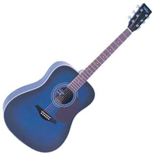 Vintage V400 Dreadnought Acoustic Guitar, Trans Blue