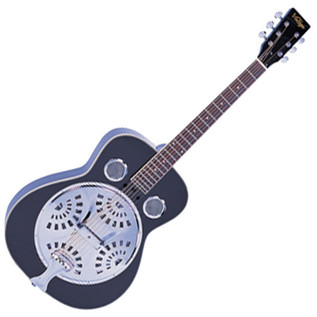 Vintage VRA400 Wood Body Resonator Guitar, Black