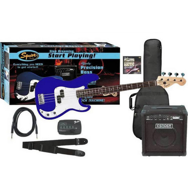 Squier by Fender Affinity P-Bass + Rumble 15 Amp, Metallic Blue