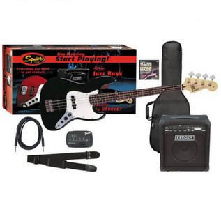 Squier by Fender Affinity J-Bass + Fender Rumble 15 Amp, Black