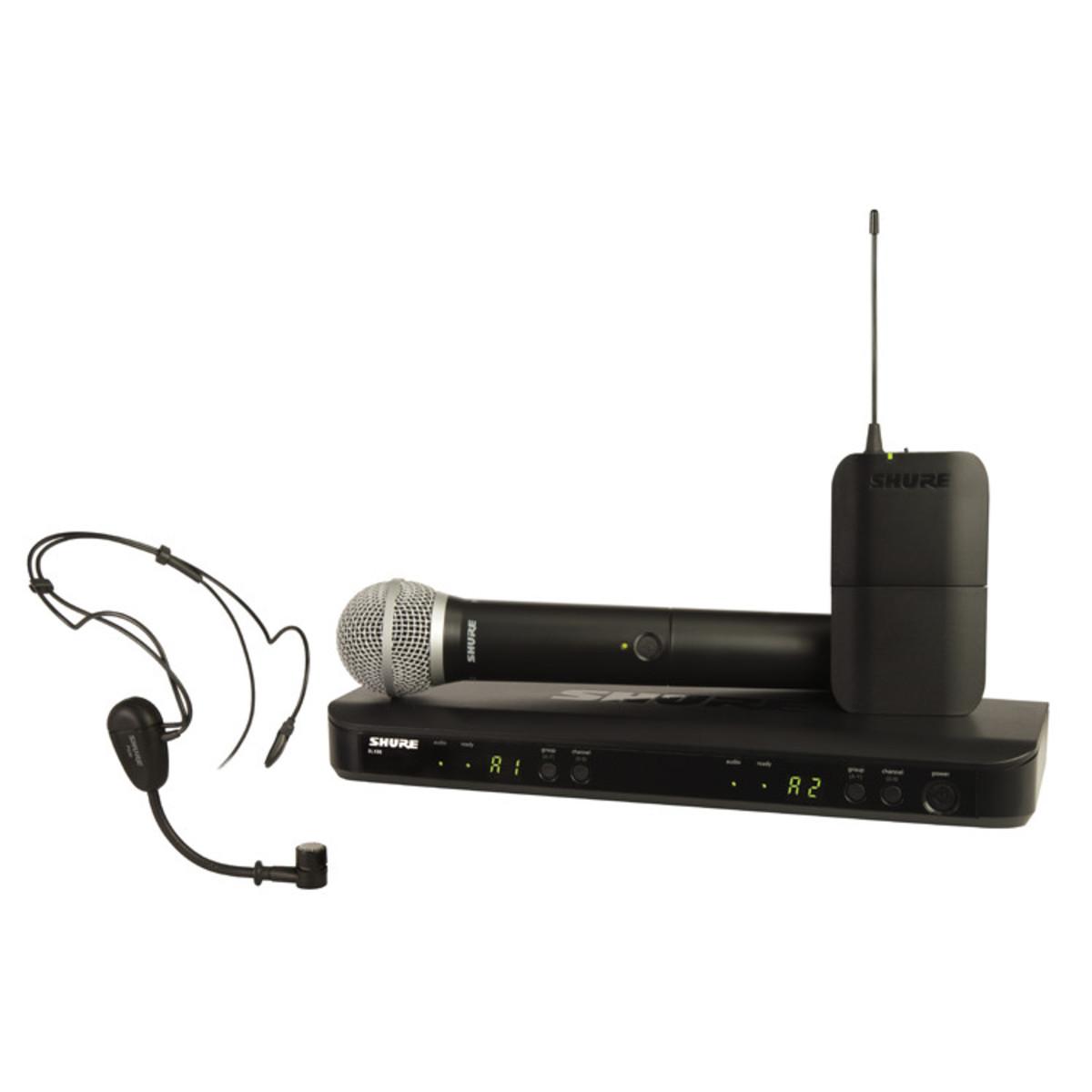 Shure Microphone System : Shure blx uk pg dual headset handheld wireless mic