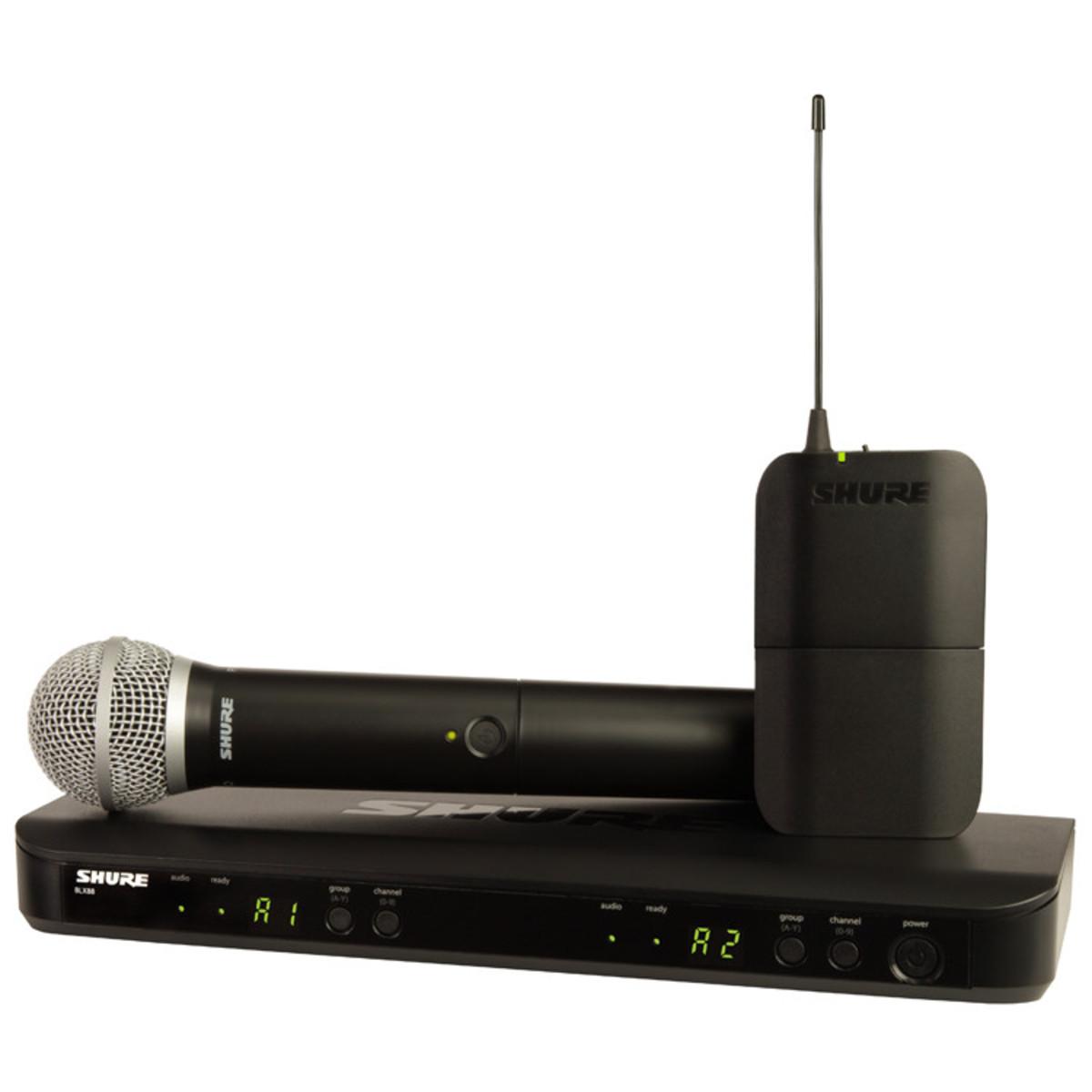 Wireless Microphone System : Shure blx uk pg dual headset handheld wireless mic